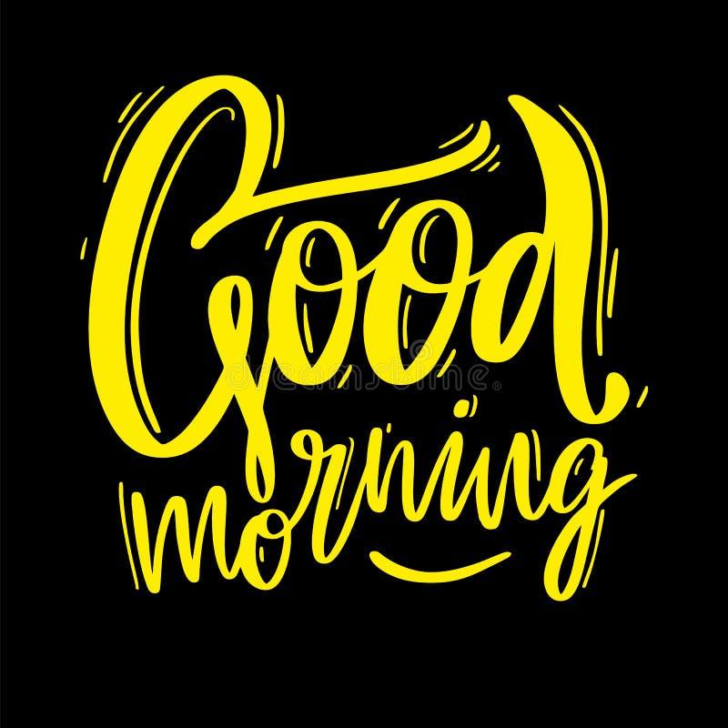 Литерность и солнце вектора руки доброго утра вычерченные Изолировано на черной предпосылке Цитата мотивировки иллюстрация вектора