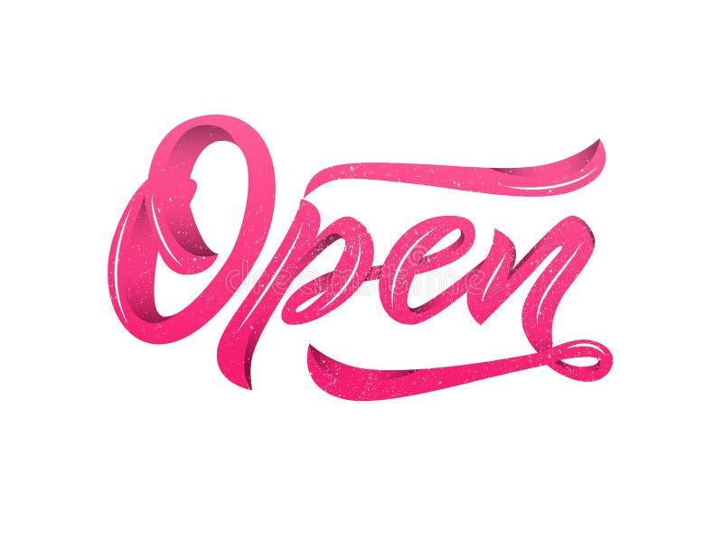 Литерность каллиграфии слова открытая современная с текстурой изолировано Розовый цвет бесплатная иллюстрация