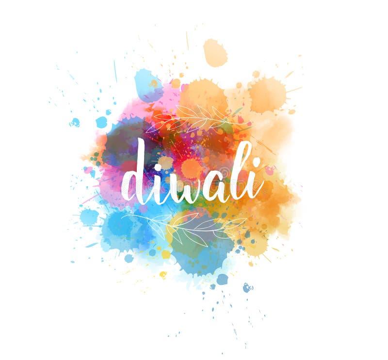Литерность каллиграфии Diwali на выплеске акварели бесплатная иллюстрация
