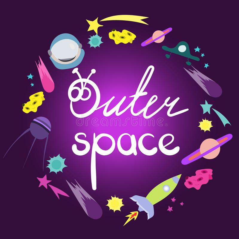 Литерность космического пространства Круглый состав рамки объектов космоса Милые объекты, символы и детали doodle мультфильма кос бесплатная иллюстрация