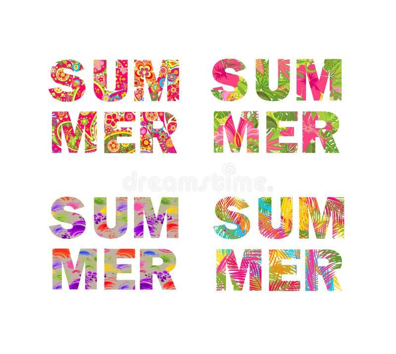 Литерность лета собрания печатей футболки с листьями ладони, тропическим isola цветков, покрашенного и декоративного винтажным цв иллюстрация вектора