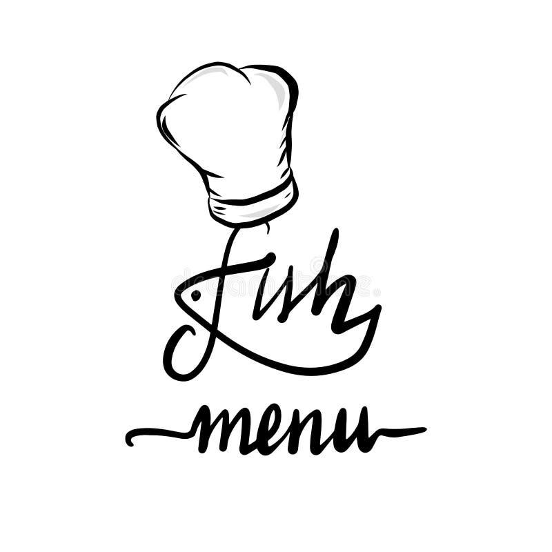 Литерность меню рыб рукописная Шеф-повар иллюстрация вектора