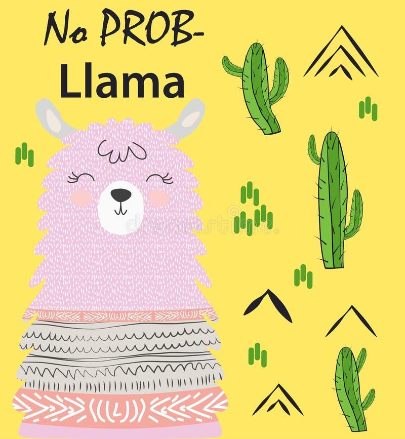 Литерность мотивации без ламы драмы Охлаждая смешные альпака doodle или лама символа Перу бесплатная иллюстрация
