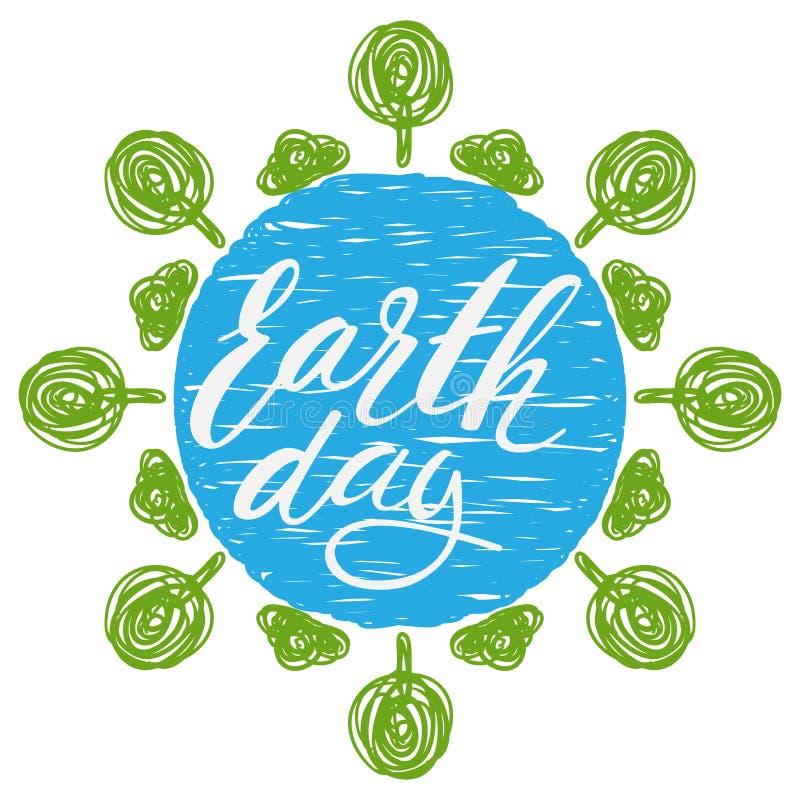 Литерность дня земли нарисованная рукой с абстрактными деревьями scribble иллюстрация штока