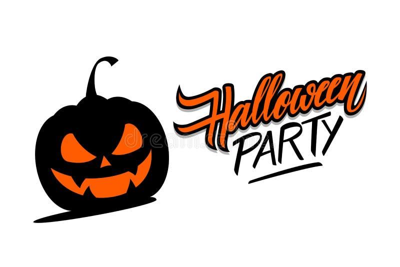Литерность партии хеллоуина нарисованная рукой с страшной тыквой Творческие элементы для приветствий праздника, приглашений парти иллюстрация штока
