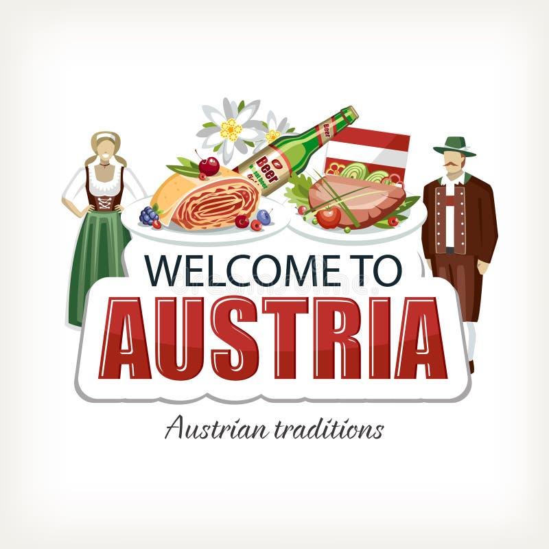 Литерность печати стикера Австрии с традиционными элементами иллюстрация вектора