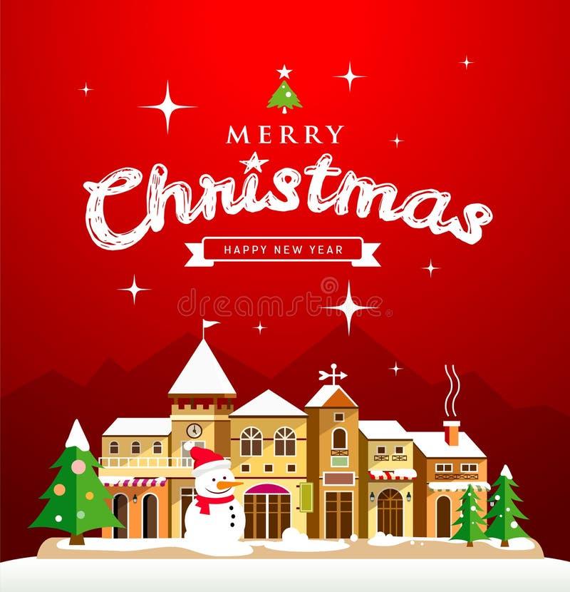 Литерность поздравительной открытки рождества с домами иллюстрация вектора