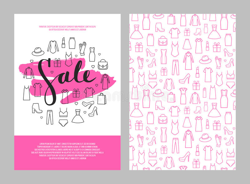 Литерность продажи на brushstroke и значках установила одежды ` s женщин иллюстрация штока