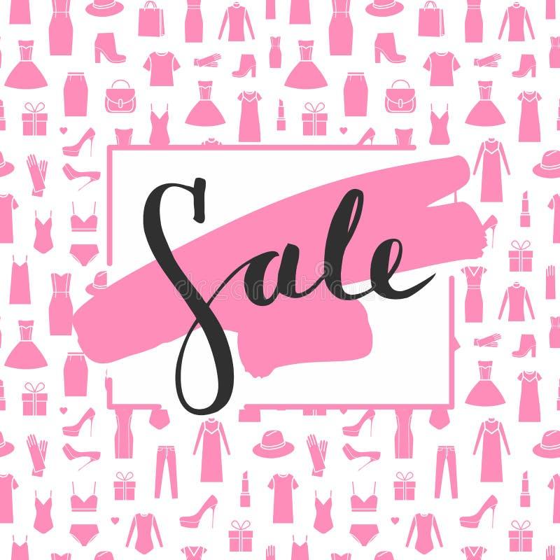 Литерность продажи на brushstroke Продажа титра иллюстрация вектора