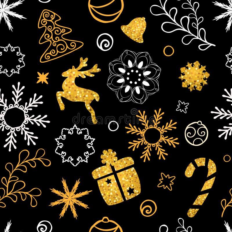 Литерность рождества нарисованная рукой Украшение рождественской елки, снежинки, подарки золотая текстура яркого блеска зима снеж бесплатная иллюстрация
