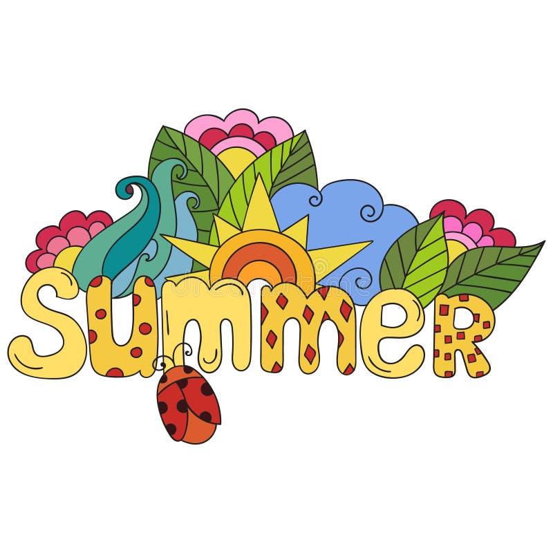 Литерность руки лета и элементы doodles, цветут листья солнце, иллюстрация вектора жука иллюстрация вектора