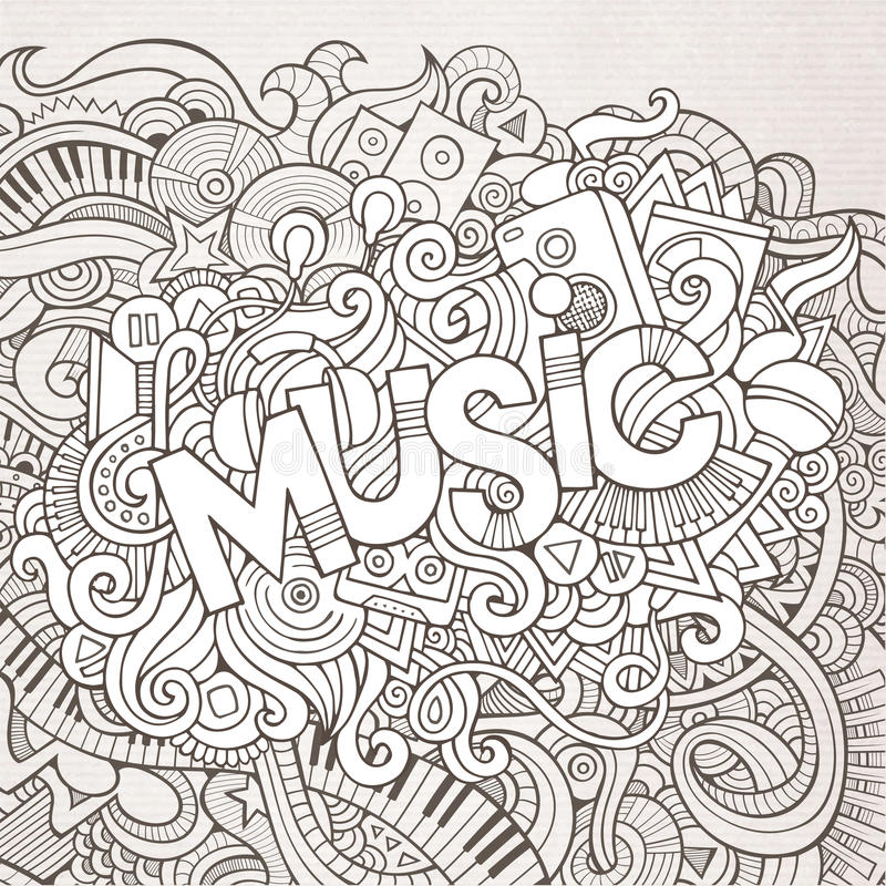 Литерность руки музыки и элементы doodles иллюстрация штока