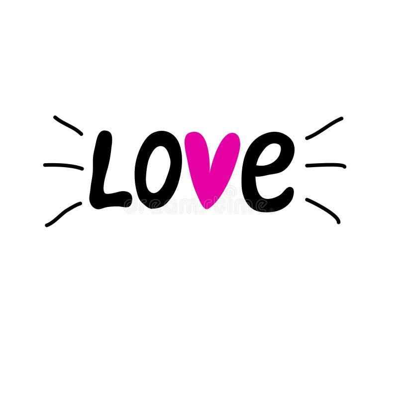 Литерность руки на день ` s валентинки Литерность руки слова влюбленности иллюстрация вектора