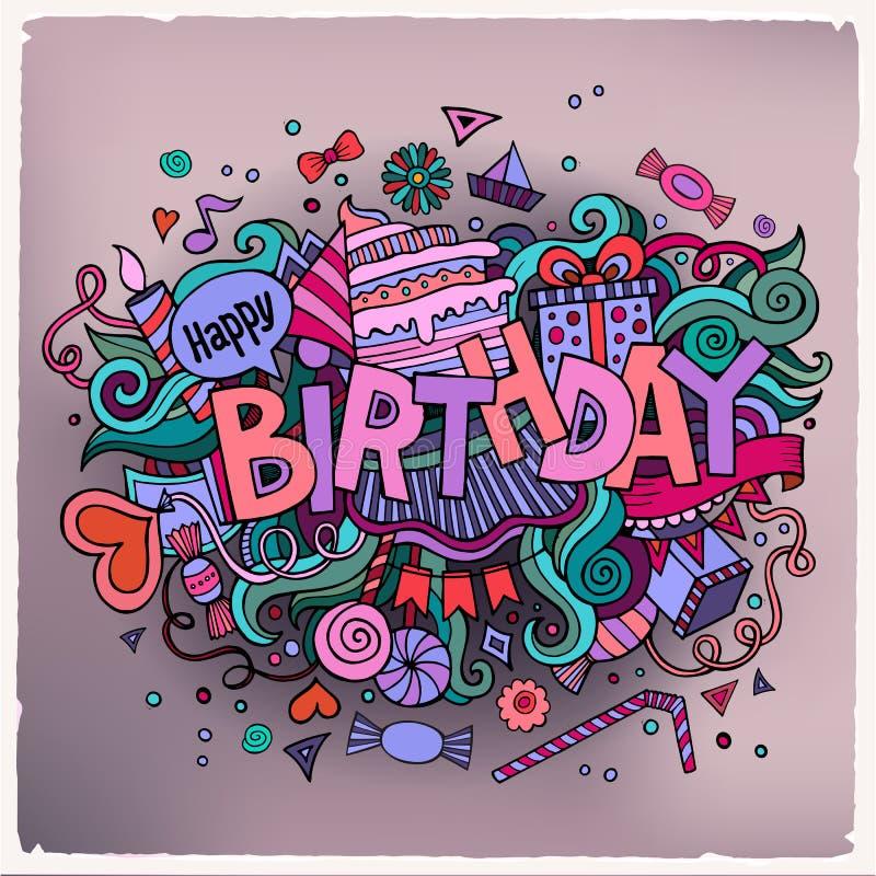 Литерность руки дня рождения и элементы doodles бесплатная иллюстрация
