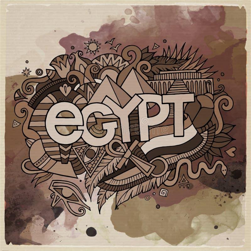 Литерность руки страны Египта и элементы doodles иллюстрация вектора