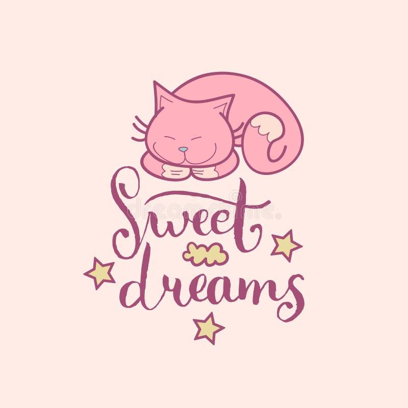 Литерность руки сладостных мечт Иллюстрация вектора милая с символами шаржа Ребяческая предпосылка для комнаты младенца, ткани et иллюстрация штока