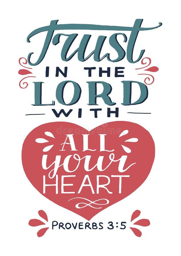 Литерность руки с доверием стиха библии в лорде с вашим сердцем иллюстрация штока