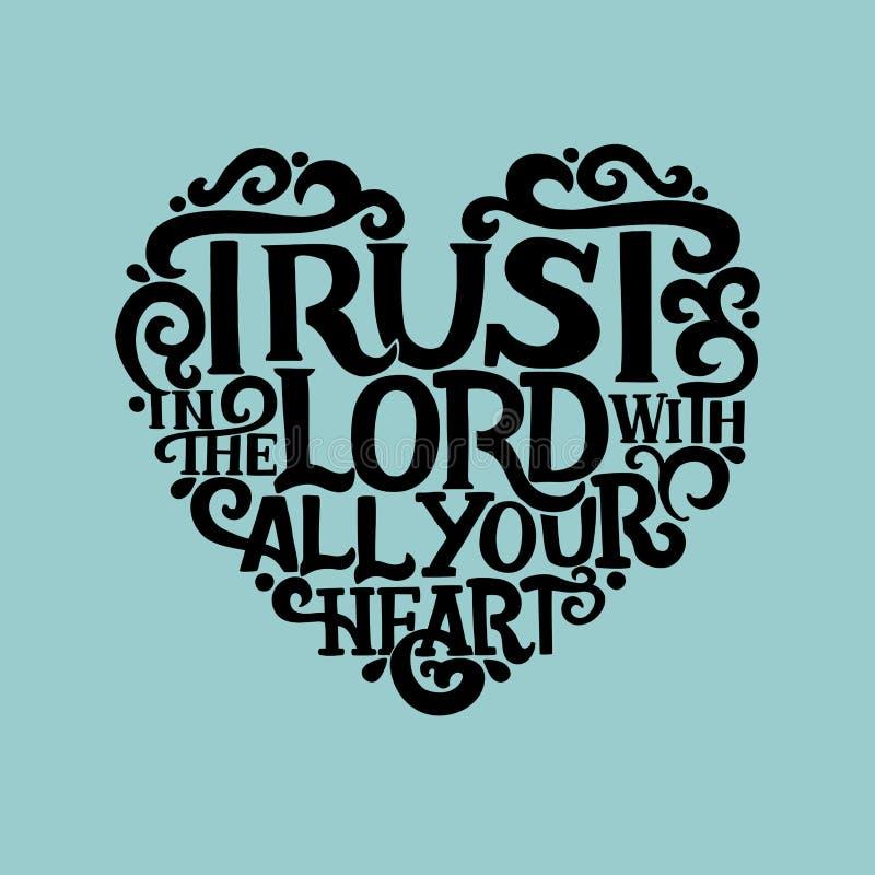 Литерность руки с доверием стиха библии в лорде с вашим сердцем на голубой предпосылке иллюстрация штока