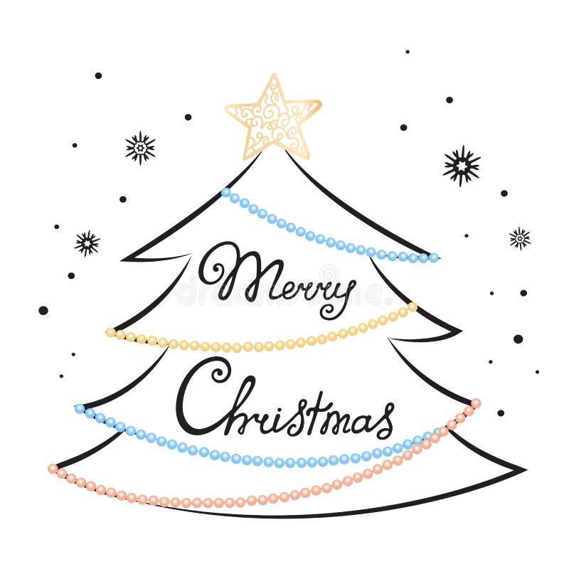 Литерность руки с Рождеством Христовым Ель, звезда, украшенная с гирляндами шариков Карточка праздника на Новый Год иллюстрация штока