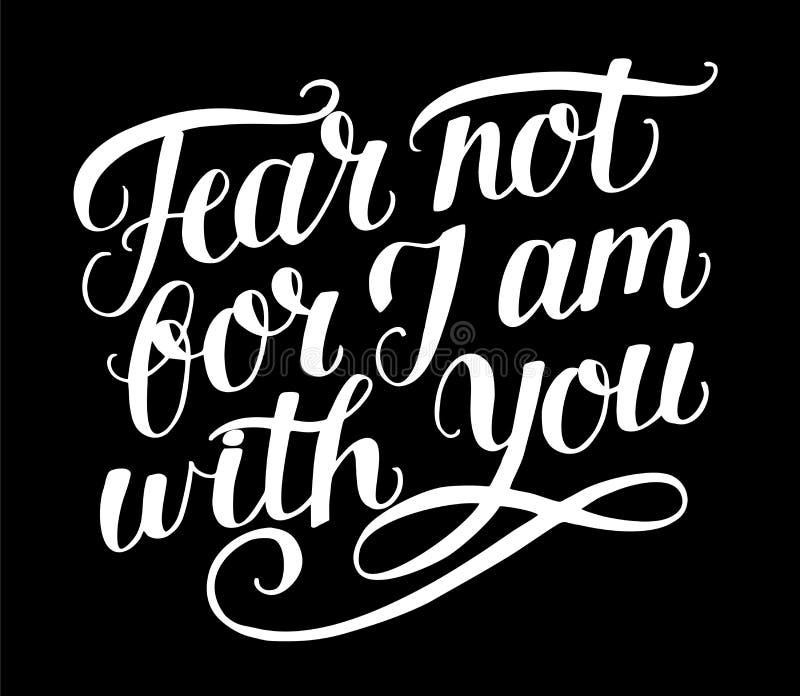 Литерность руки с страхом стиха библии не, ибо j am с вами на черном backgrund иллюстрация штока