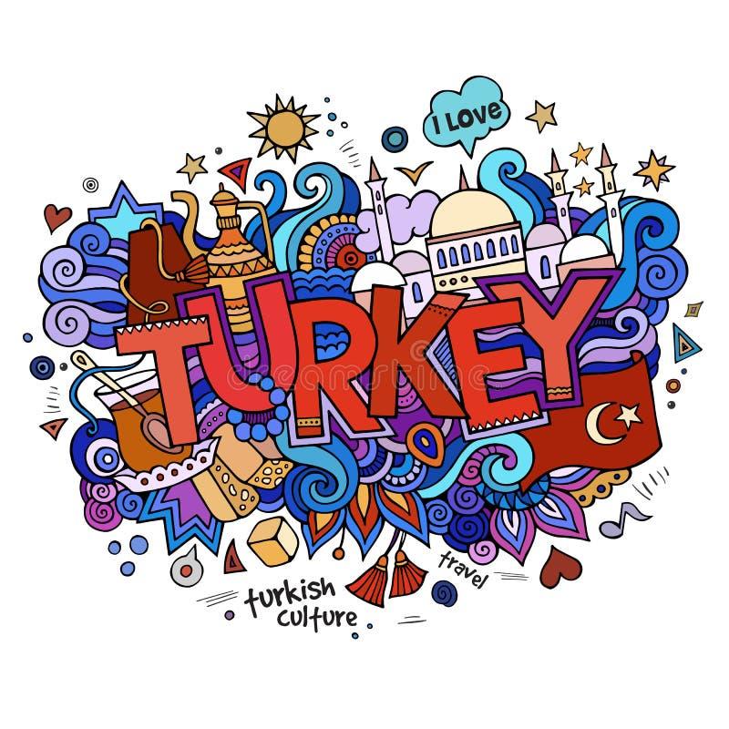 Литерность руки Турции и элементы doodles иллюстрация штока