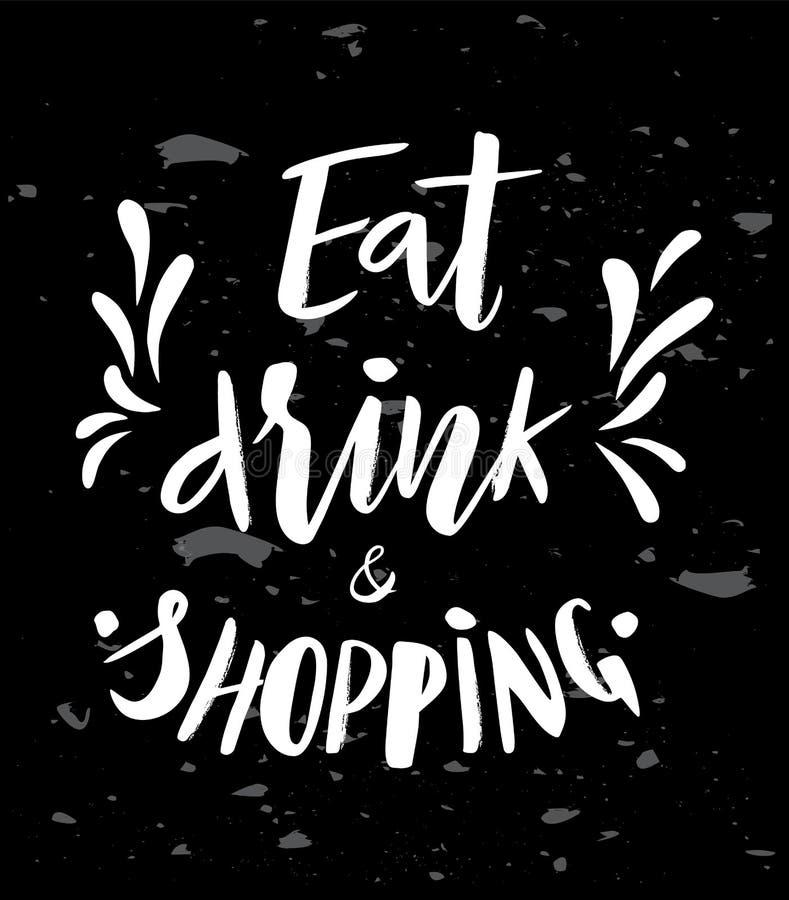 Литерность руки фразы ест питье и покупки бесплатная иллюстрация