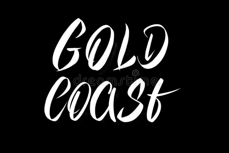 Литерность руки фразы Gold Coast в черно-белом иллюстрация вектора