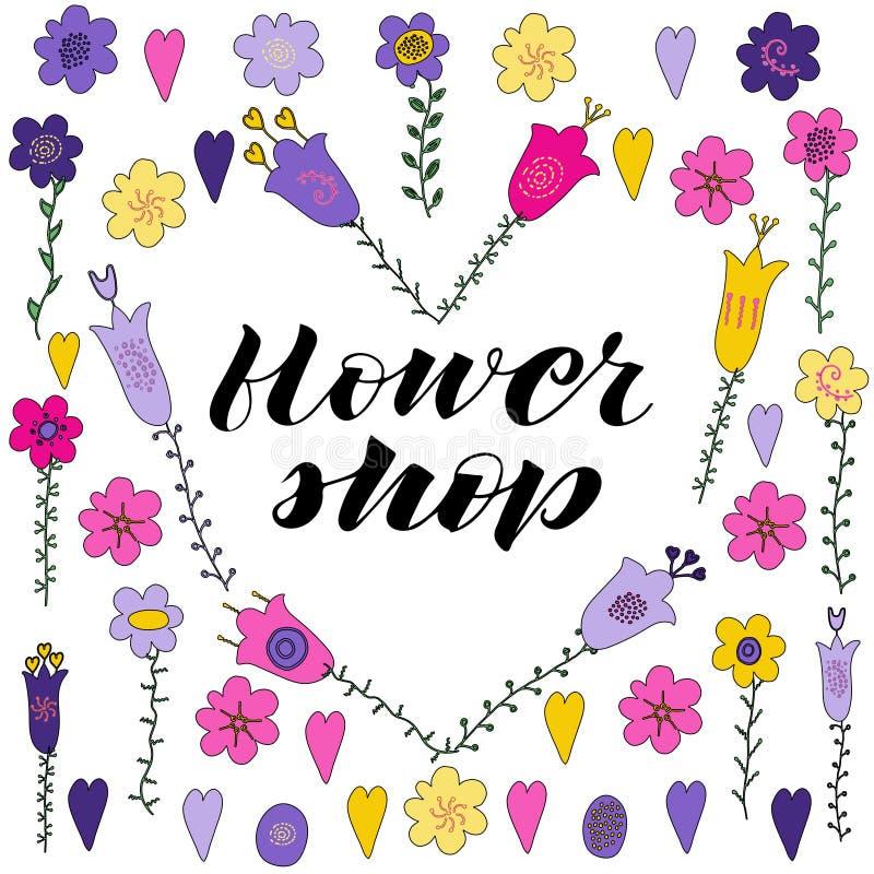 Литерность руки цветочного магазина Цветки и листья руки вычерченные doodle в форме шестка Розовые, фиолетовые, желтые цветки лис бесплатная иллюстрация