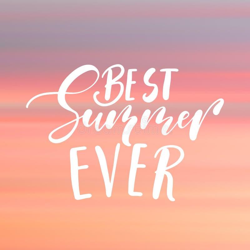 Литерность самого лучшего лета вечно- рукописная, цитата летнего отпуска на фоне неба стиля абстрактной нерезкости несосредоточен иллюстрация штока