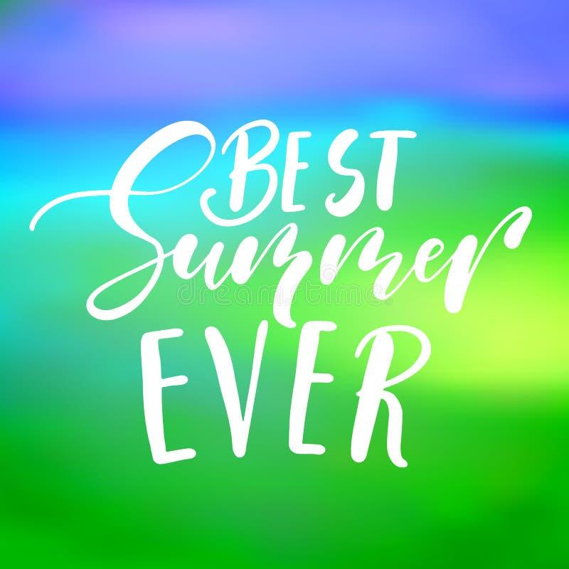 Литерность самого лучшего лета вечно- рукописная, цитата летнего отпуска на backdro неба стиля абстрактной нерезкости несосредото бесплатная иллюстрация