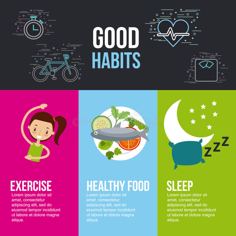 Литерность сна еды хорошей тренировки привычек здоровая с родственным I бесплатная иллюстрация