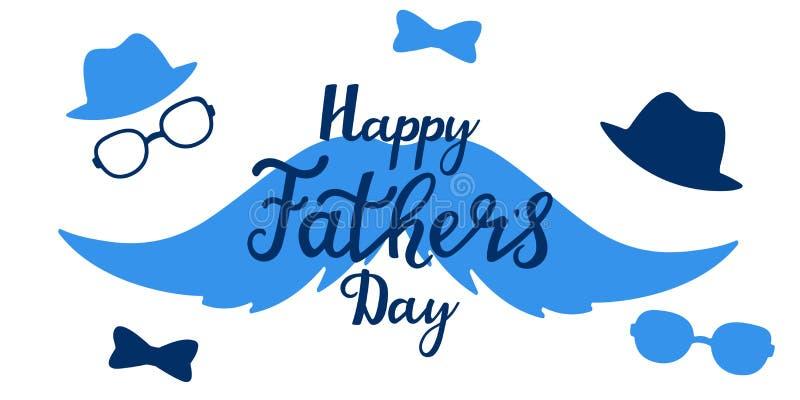 Литерность счастливой руки дня отца s вычерченная Поздравительная открытка, плакат иллюстрация вектора