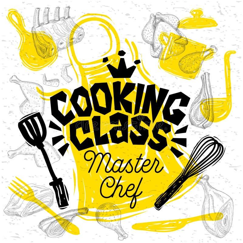 Литерность урока кулинарии шеф-повара стиля эскиза Знак, логотип, эмблема Нарисованная рукой иллюстрация вектора бесплатная иллюстрация