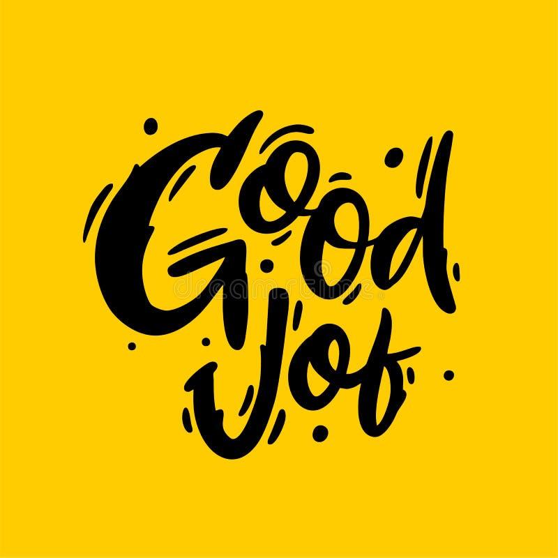 Литерность хорошей руки логотипа работы вычерченная Эскиз иллюстрации вектора Изолировано на желтой предпосылке иллюстрация штока