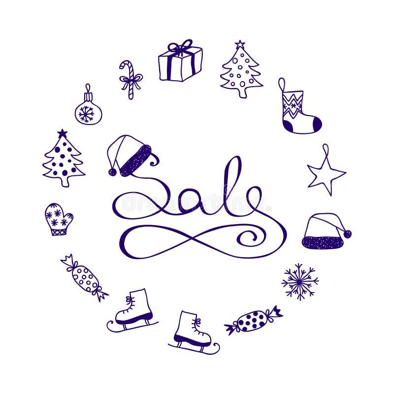 Литерность чернил - продажа рождества с элементами шаржа иллюстрация вектора