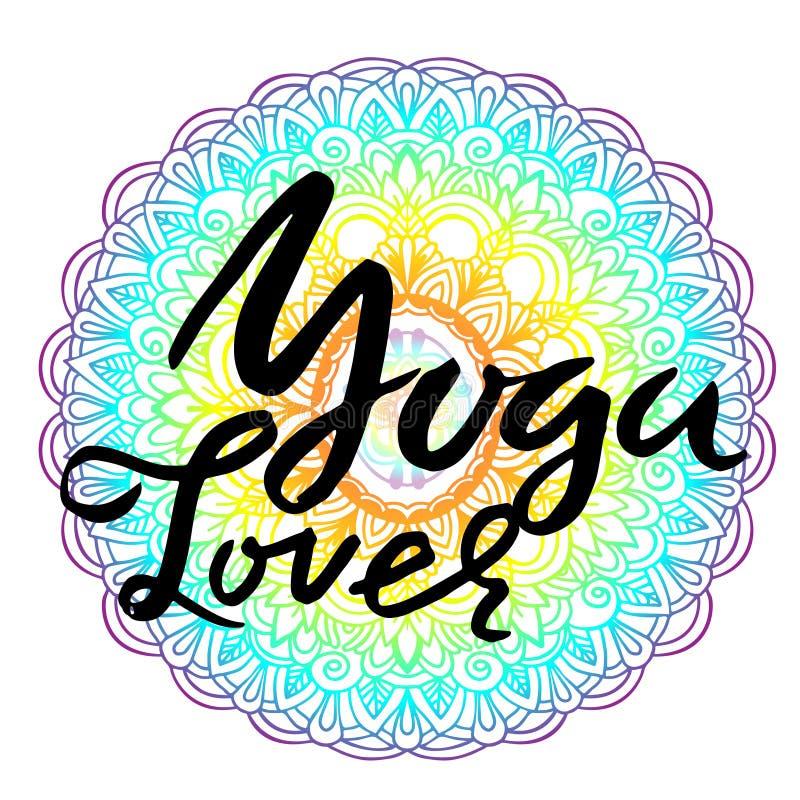 Литерность щетки любовника йоги сухая на предпосылке картины мандалы Плакат оформления йоги также вектор иллюстрации притяжки cor бесплатная иллюстрация