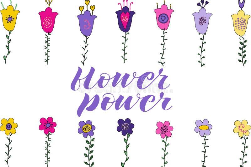 Литерность щетки силы цветка Цветки и листья руки вычерченные doodle Розовые, фиолетовые, желтые цветки листья зеленого цвета иллюстрация вектора