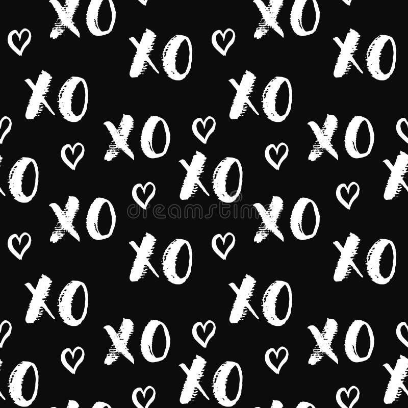 Литерность щетки XOXO подписывает безшовную картину, calligraphiv c Grunge обнимает и целует фразу, символ аббревиатуры XOXO слен иллюстрация штока