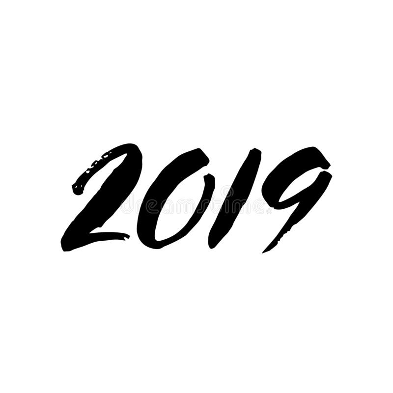 литерность 2018 щеток изолированная на белой предпосылке Рукописная надпись иллюстрация вектора