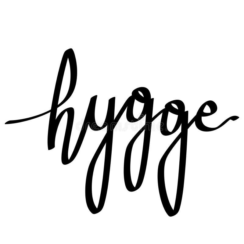 Литерность Hygge Перевод: уют Датская концепция образа жизни иллюстрация вектора