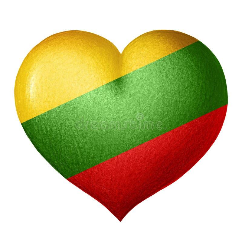 Литовское сердце флага изолированное на белой предпосылке белизна вала карандаша чертежа предпосылки иллюстрация штока