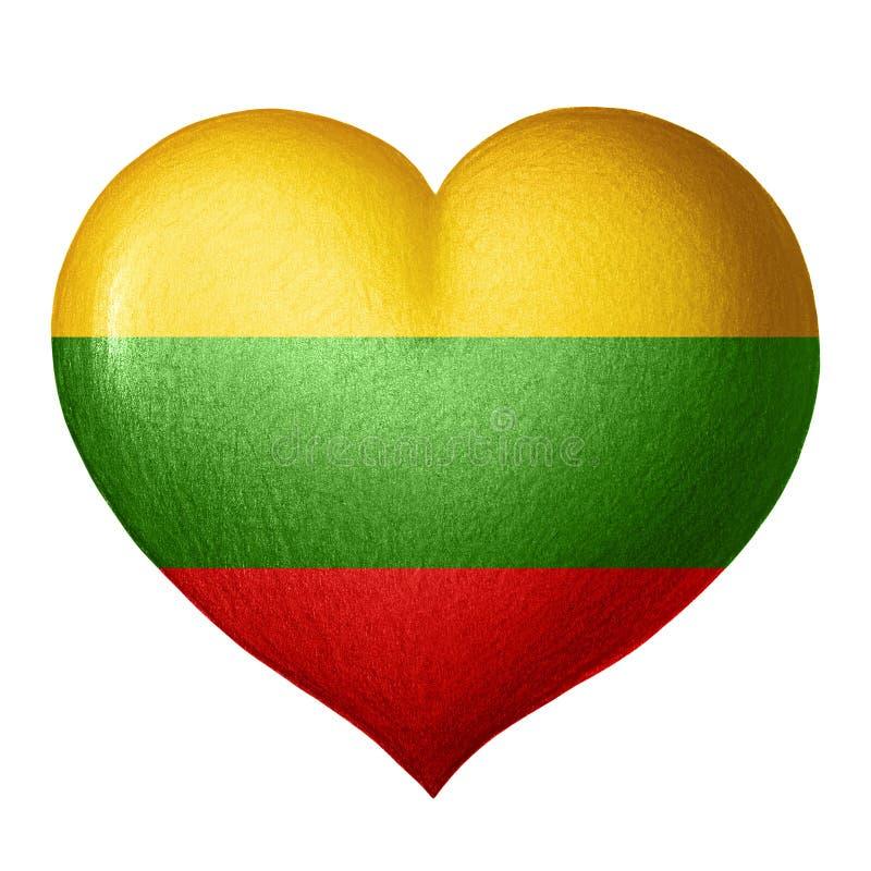 Литовское сердце флага изолированное на белой предпосылке белизна вала карандаша чертежа предпосылки бесплатная иллюстрация