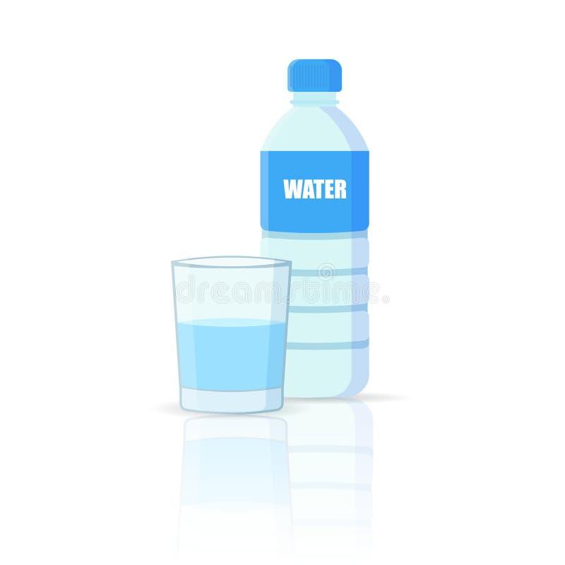 Лить вода в стекло от бутылки изолировала белую предпосылку также вектор иллюстрации притяжки corel иллюстрация вектора