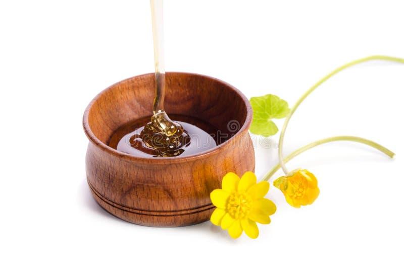 Лить мед в деревянном шаре с желтыми цветками на белой предпосылке стоковое фото rf