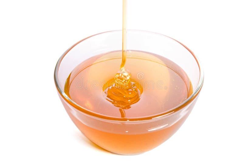 Лить мед в стеклянный шар на белой предпосылке стоковые фото