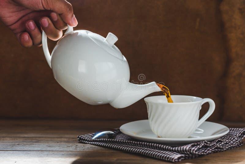Лить чай в чашке стоковое фото