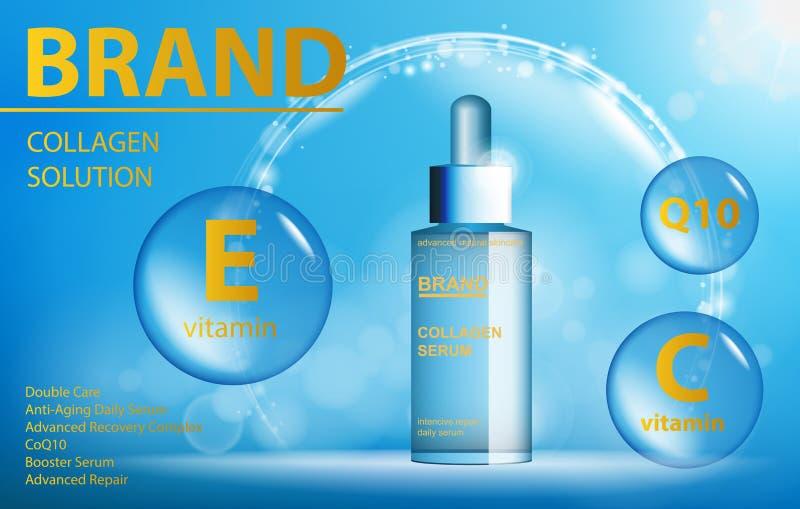 Лицевая содержат косметика заботы кожи сути обработки, который Голубой просвечивающий шаблон стеклянной бутылки Продукт косметик  иллюстрация штока