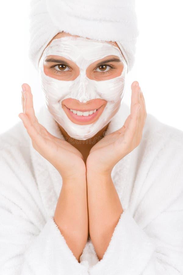 лицевая счастливая женщина подростка маски стоковое изображение