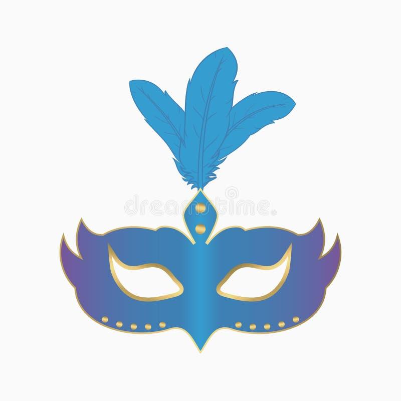 Лицевой щиток гермошлема масленицы с пер Украшение для партии masquerade вектор иллюстрация вектора