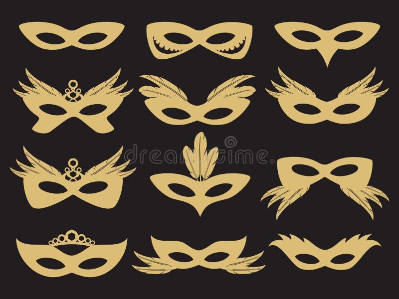 Лицевой щиток гермошлема партии масленицы золота иллюстрация штока